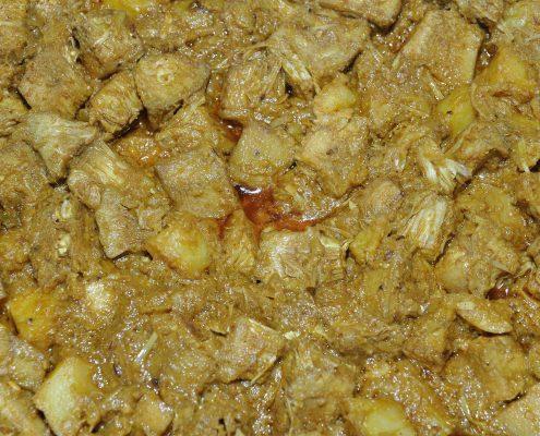 Photo of green jackfruit and potato curry, Kolkata.